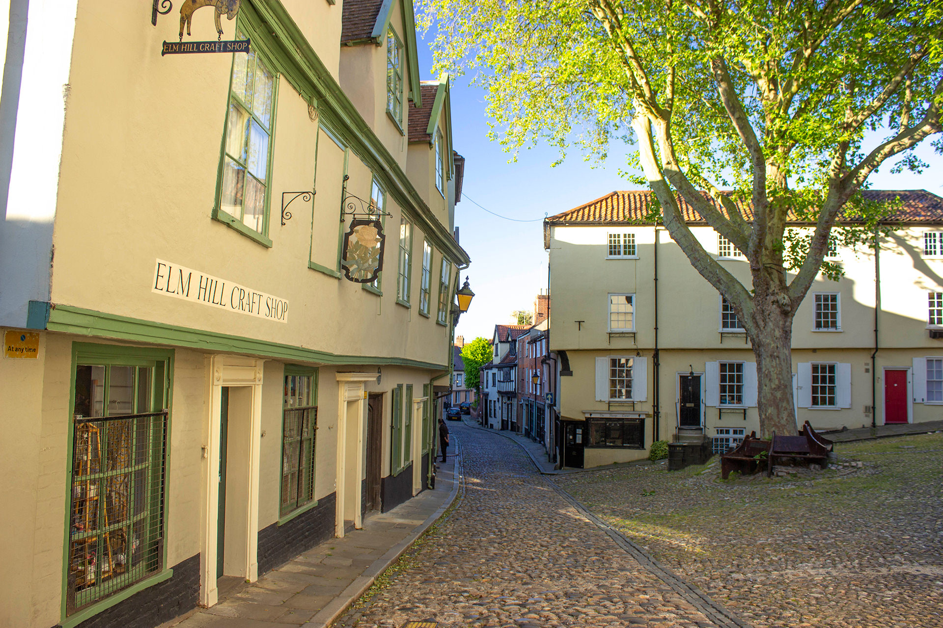 elm hill square and cobbled street with shops