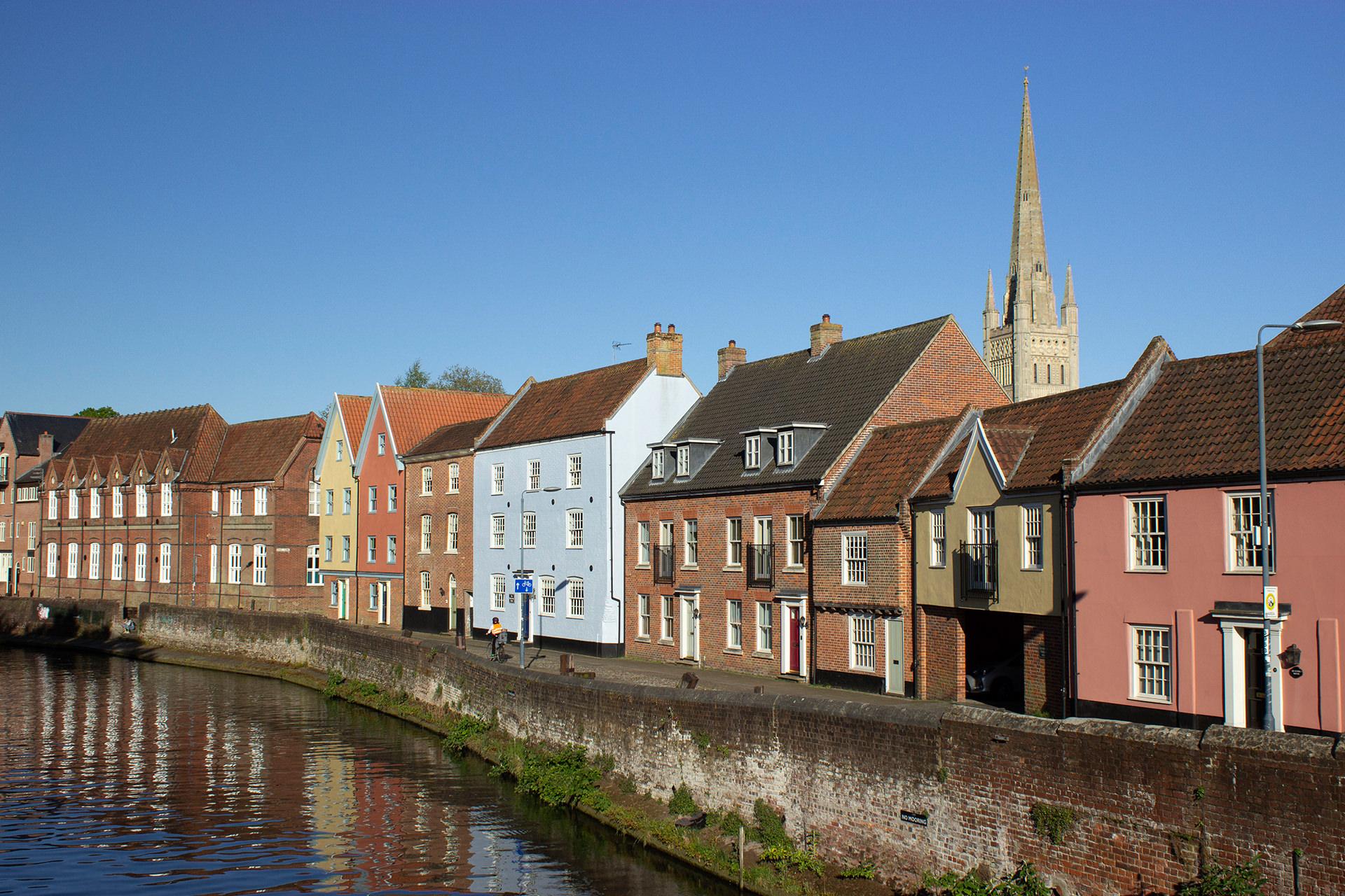 wensum riverside coloured houses